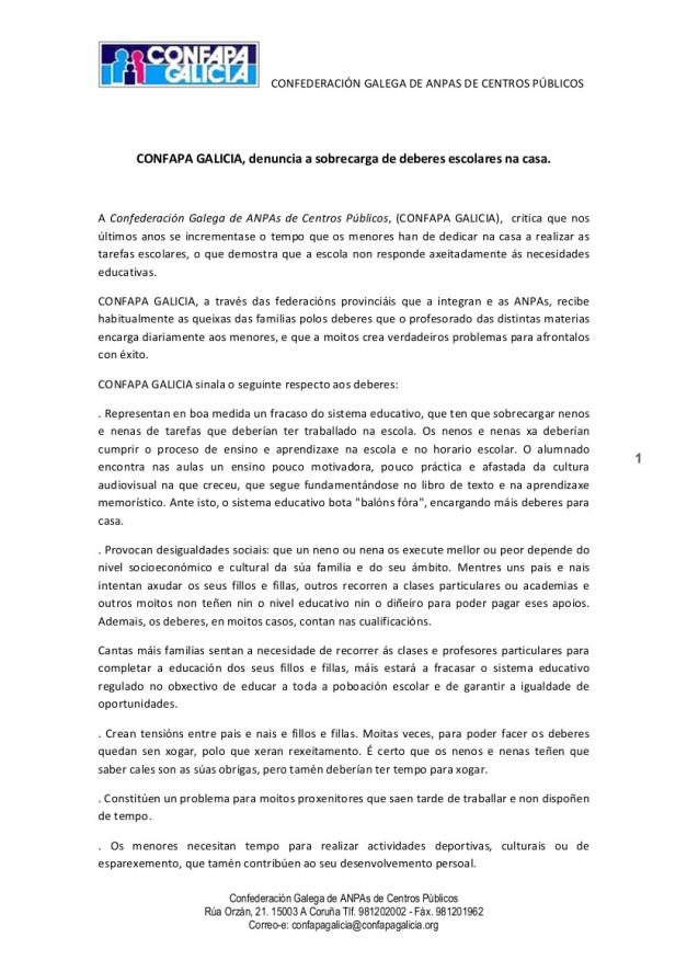 COMUNICADO DE PRENSA DEBERES 130530
