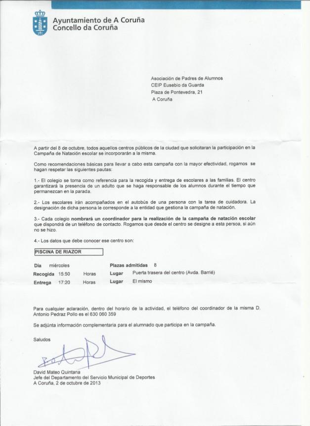 AVISO DEL AYUNTAMIENTO COMIENZO NATACIÓN