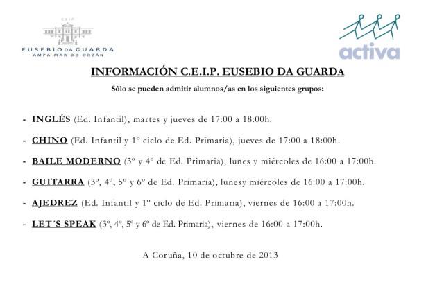 Cartel plazas libres (10 octubre)