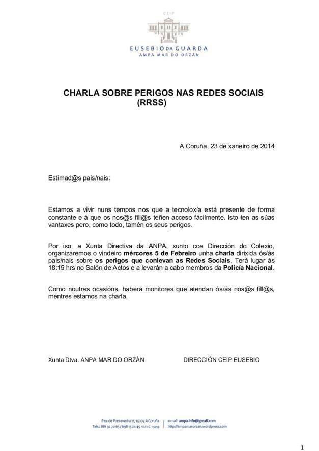 CIRCULAR - CHARLA PADRES PELIGROS RRSS