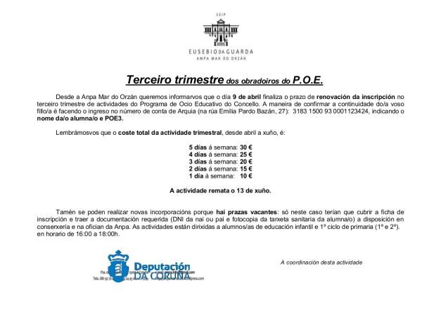 CARTEL INSCRIPCIÓN TERCER TRIMESTRE POE 2013-1