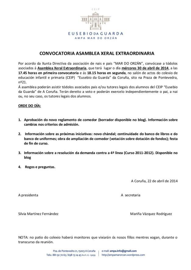 CONVOCATORIA ASAMBLEA GENERAL EXTRAORDINARIA CURSO 2013-2014